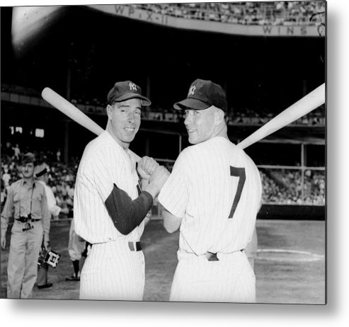 American League Baseball Metal Print featuring the photograph Yankees Center-fielder Joe Dimaggio by New York Daily News Archive