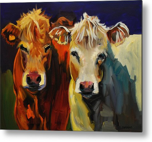 Painting Metal Print featuring the painting Cow Buddies by Diane Whitehead