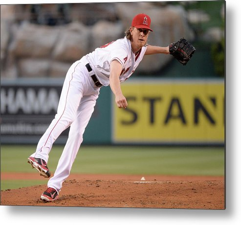 American League Baseball Metal Print featuring the photograph Jered Weaver by Harry How