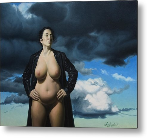Female Nude Metal Print featuring the painting Just A Girl A Coat And Some Clouds by Gary Hernandez