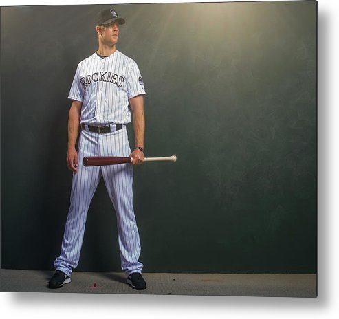 Media Day Metal Print featuring the photograph Justin Morneau by Rob Tringali