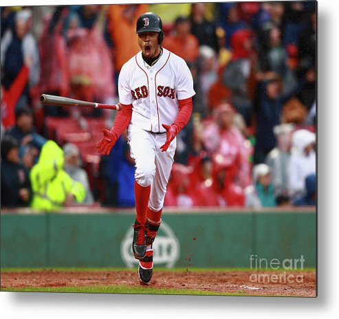 People Metal Print featuring the photograph Mookie Betts by Omar Rawlings