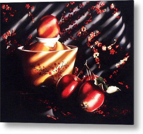 Oriental Metal Print featuring the pastel Ornamental Crabapples by Dianna Ponting