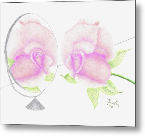 Rose Metal Print featuring the drawing Pink Reflection by Dusty Reed