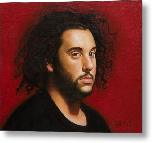 Portrait Of A Young Man Metal Print featuring the painting Young Man In Black by Gary Hernandez