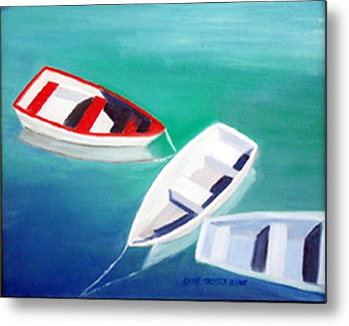 Seascape Metal Print featuring the print Boat Trio by Anne Trotter Hodge