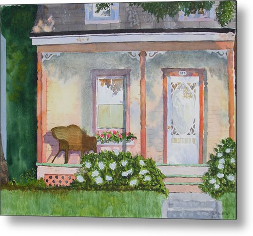 House Metal Print featuring the painting Grandma's Front Porch by Ally Benbrook