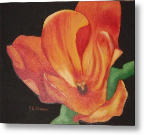 Tulip Metal Print featuring the painting Inside The Tulip by SueEllen Cowan