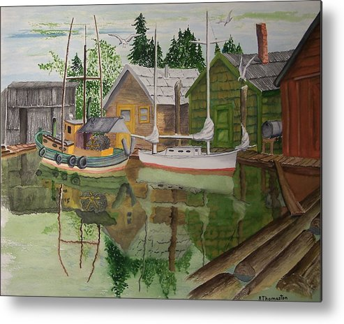 Landscape Metal Print featuring the painting lake Union Seattle by Robert Thomaston