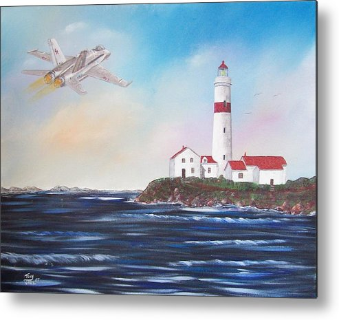Seascape Metal Print featuring the painting Lighthouse Fly By by Tony Rodriguez