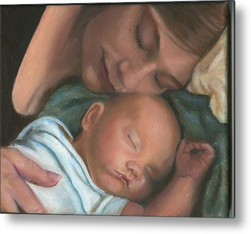 Mother Metal Print featuring the painting Mother And Son by Sandra Butler