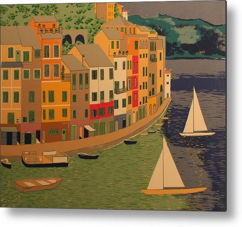 Harbor Metal Print featuring the painting pORTOFINO by Biagio Civale