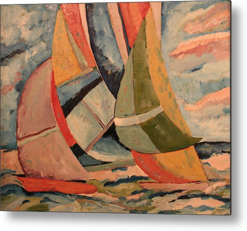 Metal Print featuring the painting Sailboats by Biagio Civale