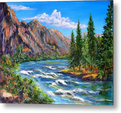 Landscape Metal Print featuring the painting Snake River by Thomas Restifo