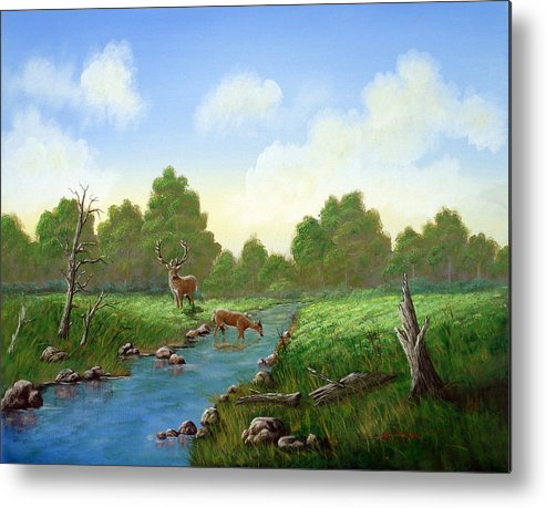 Landscape Metal Print featuring the painting Standing Guard by SueEllen Cowan