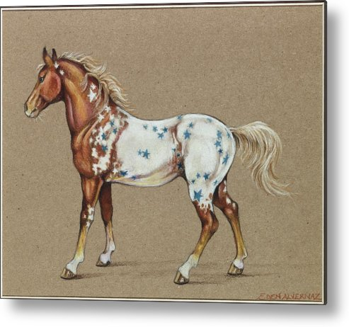Horse Metal Print featuring the drawing Star Spangled Horse by Eden Alvernaz