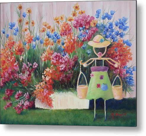 Landscape Metal Print featuring the painting Summer Bounty by Maxine Ouellet