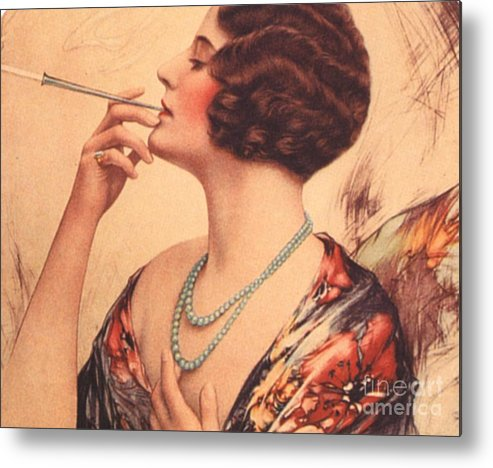 1920�s Metal Print featuring the drawing 1920s Usa Women Cigarettes Holders by The Advertising Archives