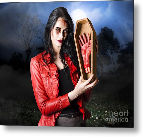 Female Grave Robber Stealing Limbs And Body Parts Metal Print