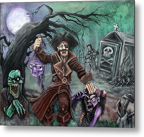 Pirate Metal Print featuring the painting Pirate's Graveyard by Laura Barbosa