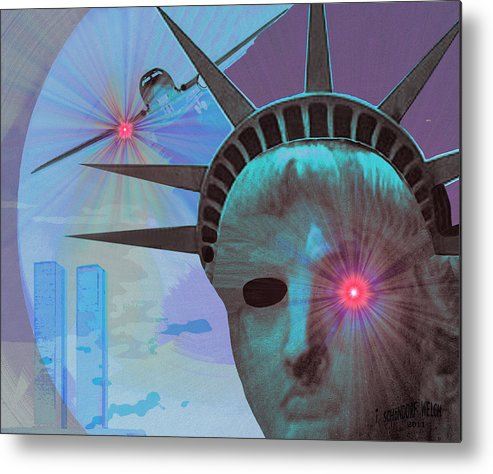 Airplane Metal Print featuring the painting 134 - Attack And Revenge by Irmgard Schoendorf Welch