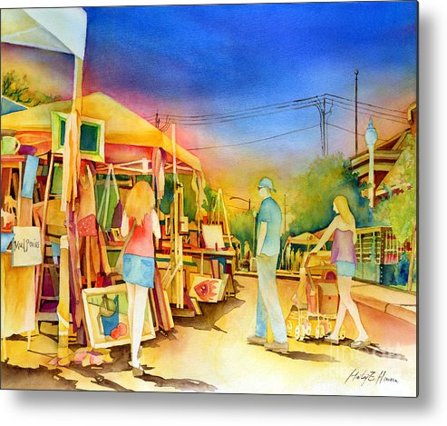 Downtown Bryan Metal Print featuring the painting Street Art Fair by Hailey E Herrera