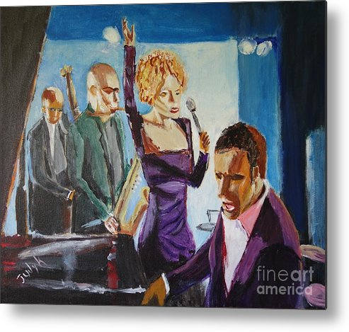 Music Metal Print featuring the painting After Hours by Judy Kay
