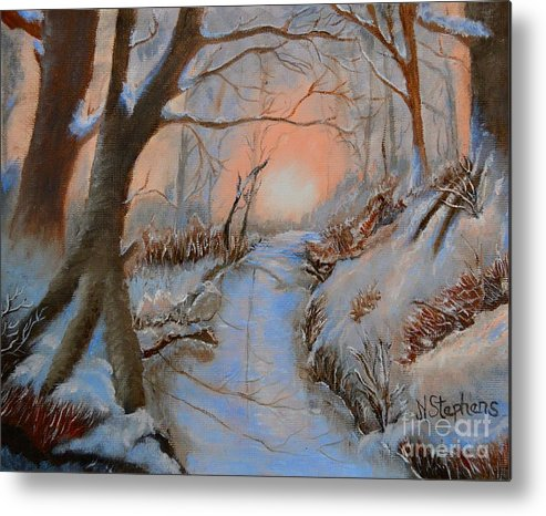 Snow Metal Print featuring the painting Allen Kingwell Liquin Study by Nina Stephens