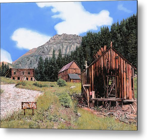 Ghost Town Metal Print featuring the painting Alta In Colorado by Guido Borelli