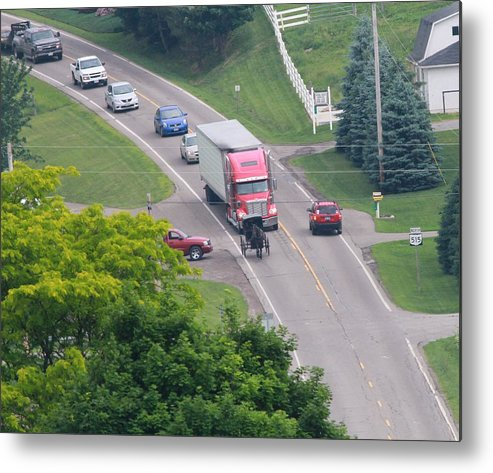 Amish Traffic Jam Metal Print featuring the photograph Amish Traffic Jam by Dan Sproul