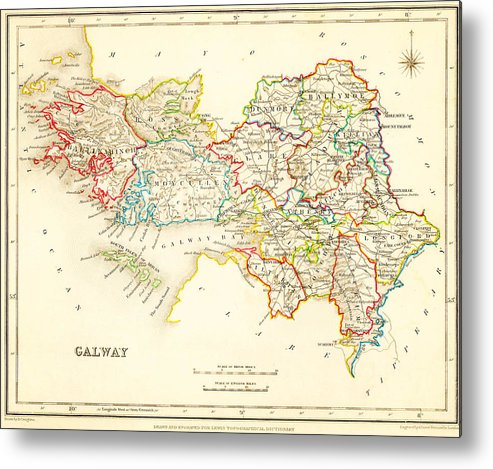 Caribbean Sea Metal Print featuring the painting Antique Map Of Galway Ireland by Celestial Images