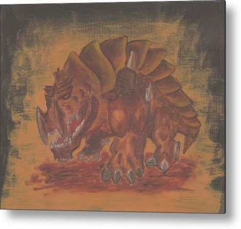 Fantasy Metal Print featuring the painting Armored Beast by Jeffrey Oleniacz