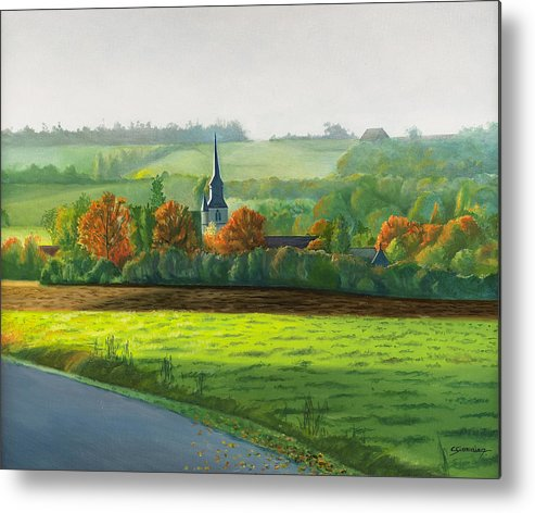 Autumn Metal Print featuring the painting Autumn Morning At St Ulphace by Christian Simonian