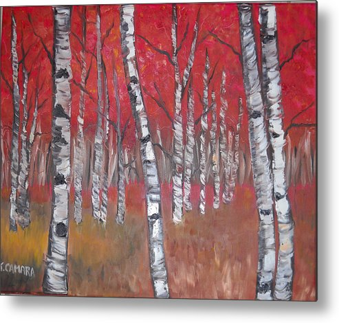 Acrylic Painting Metal Print featuring the painting Birch Trees by Kathie Camara