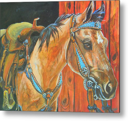 Horse Metal Print featuring the painting Buckskin Filly by Jenn Cunningham