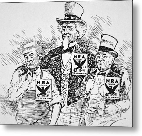 Male Metal Print featuring the drawing Cartoon Depicting The Impact Of Franklin D Roosevelt by American School