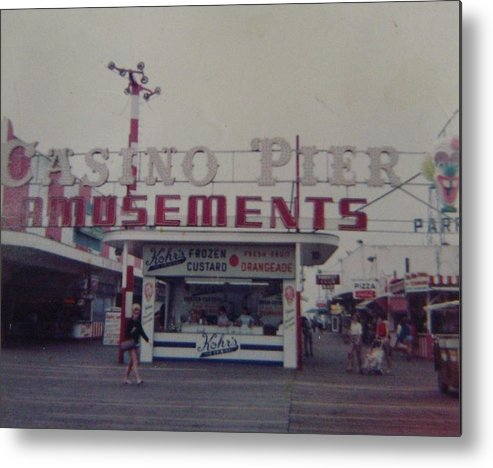 Seaside Heights Metal Print featuring the photograph Casino Pier Amusements Seaside Heights Nj by Joann Renner
