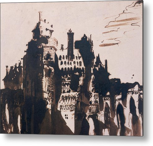 Bridge Metal Print featuring the painting Chateau Fortified By Two Bridges by Victor Hugo