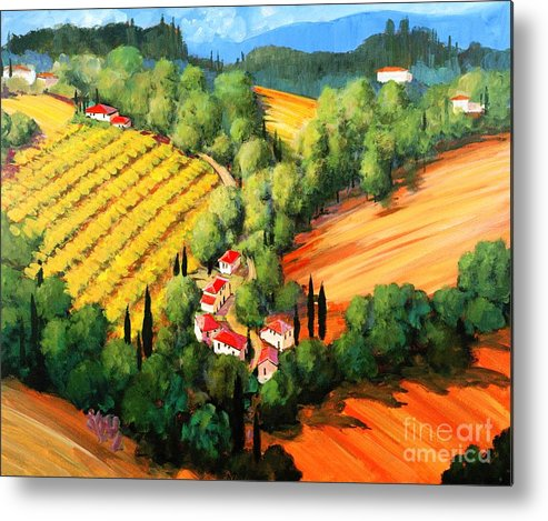 Chianti Landscape Metal Print featuring the painting Chianti Road by Michael Swanson