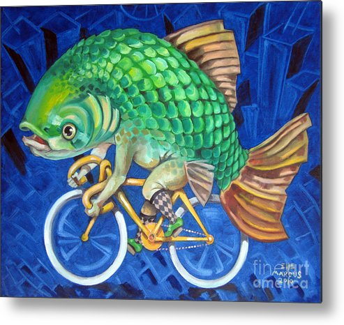 Chicago Metal Print featuring the painting Chicago Carp by Ellen Marcus
