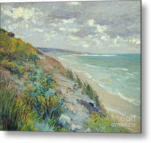 Beach Metal Print featuring the painting Cliffs By The Sea At Trouville by Gustave Caillebotte