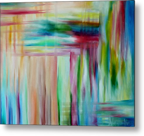 Abstract Metal Print featuring the painting Colorful Waters by Stephanie Koenig