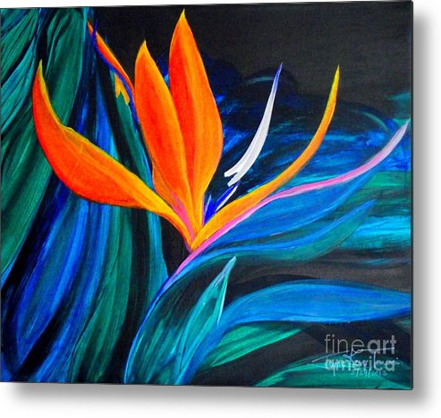 Bird Of Paradise Canvas Print Metal Print featuring the painting Eastcoast Bird Of Paradise by Jayne Kerr