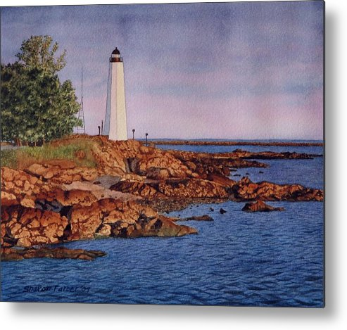 Lighthouse Metal Print featuring the painting Five Mile Point Lighthouse by Sharon Farber