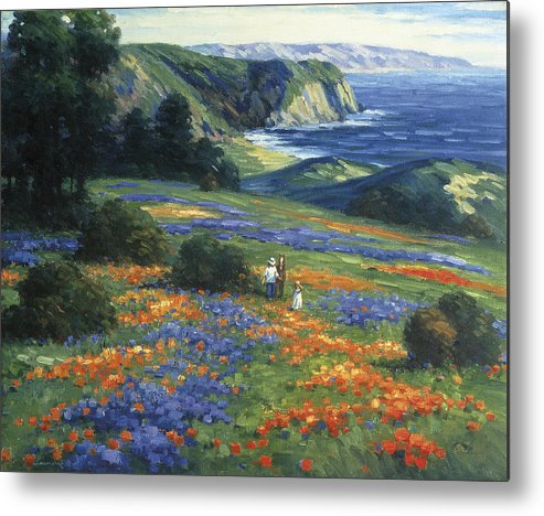 Woman Metal Print featuring the painting Floral Doman by Ghambaro