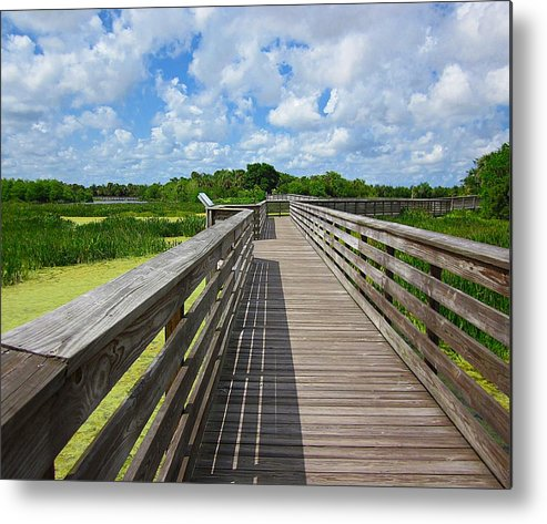 Green Cay Nature Preserves Metal Print featuring the photograph Florida Boardwalk by MTBobbins Photography