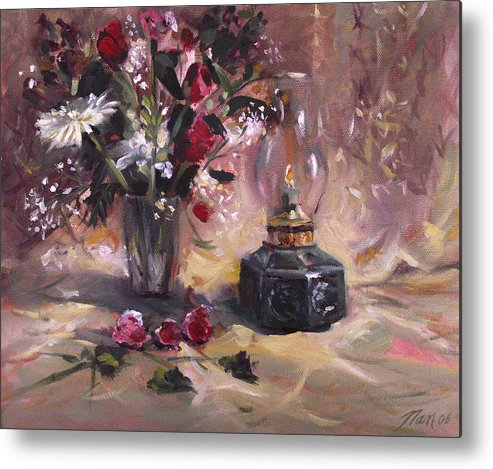 Flowers Metal Print featuring the painting Flowers With Lantern by Nancy Griswold