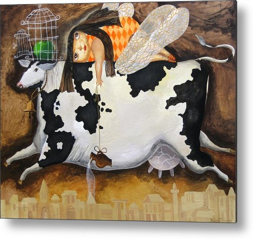 Cow Metal Print featuring the painting Flying In Dreams And Reality by Yelena Revis