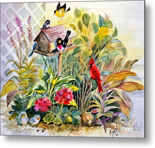 Birds Metal Print featuring the painting Garden Birds by Marilyn Smith