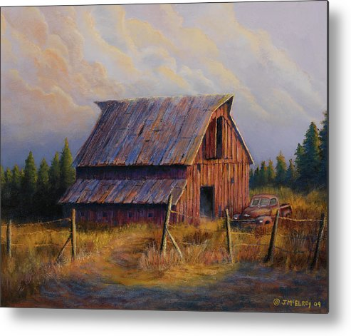Barn Metal Print featuring the painting Grandpas Truck by Jerry McElroy